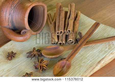 two wooden spoons ,a jug