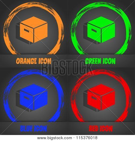 Packaging Cardboard Box Icon. Fashionable Modern Style. In The Orange, Green, Blue, Red Design.