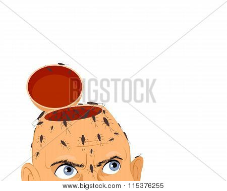 Cockroaches In Mans Head