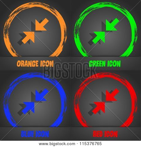 Exit Full Screen Icon. Fashionable Modern Style. In The Orange, Green, Blue, Red Design.
