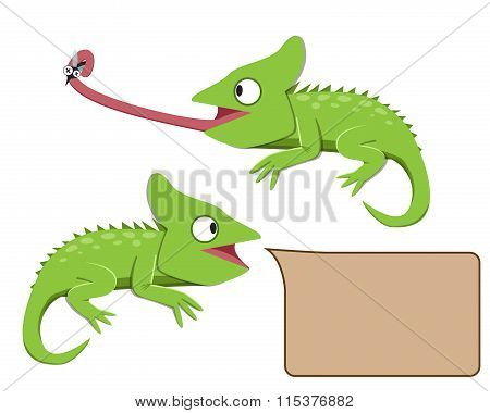 Lizard Eating Insect In Flat Style
