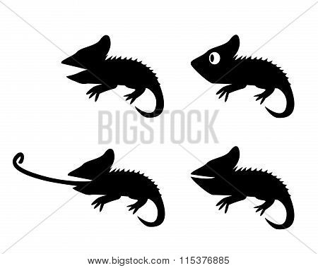Set Of Lizard In Silhouette Style. Side View