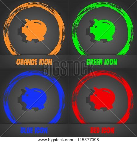 Piggy Bank - Saving Money Icon. Fashionable Modern Style. In The Orange, Green, Blue, Red Design.