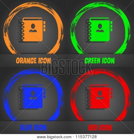 Notebook, Address, Phone Book Icon. Fashionable Modern Style. In The Orange, Green, Blue, Red