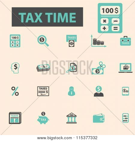 tax time, accounting, calculator  icons, signs vector concept set for infographics, mobile, website, application