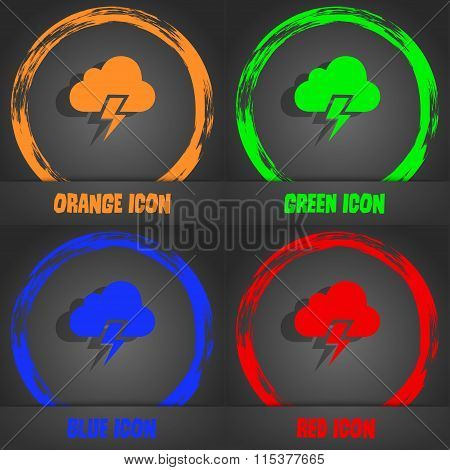 Heavy Thunderstorm Icon. Fashionable Modern Style. In The Orange, Green, Blue, Red Design.