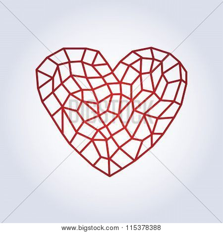 Polygonal linear red heart.Low poly style
