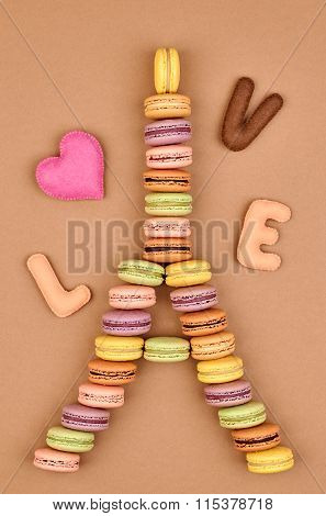 Macarons Eiffel Tower french sweet colorful, love