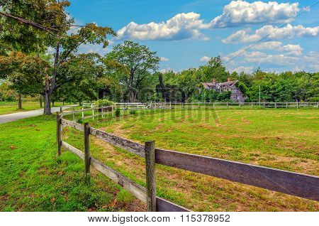 Maryland Rustic Farm Landscape With Country Road