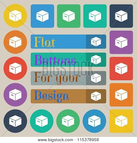 Packaging Cardboard Box Icon Sign. Set Of Twenty Colored Flat, Round, Square And Rectangular