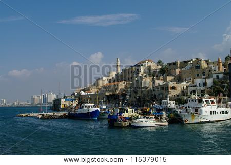 The Old Port With Fishing Ships In Jaffa