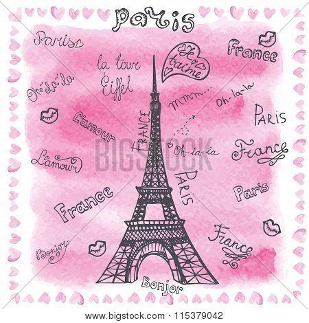 Love in Paris Watercolor lettering