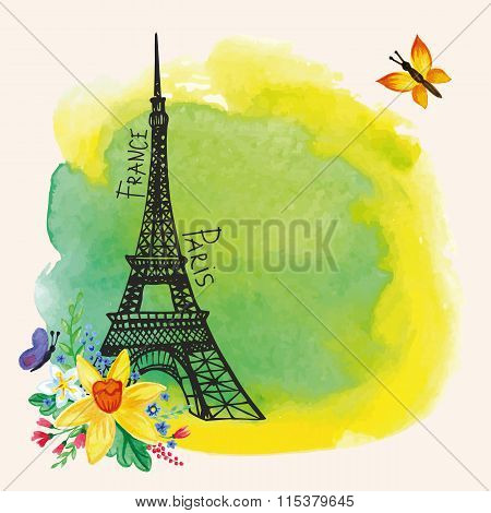 Paris Eiffel tower, Watercolor spot, Narcissus bouquet Card