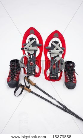 Equipment for a hike in the winter.