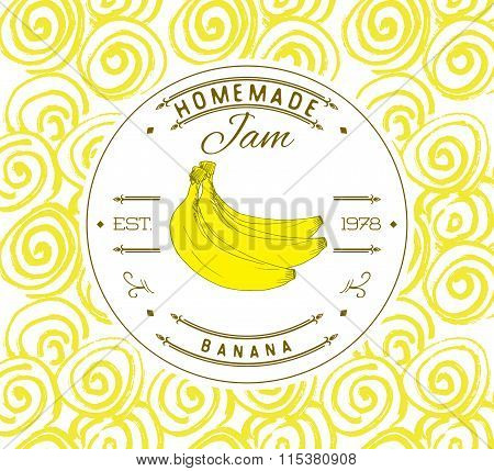 Jam Label Design Template. For Banana Dessert Product With Hand Drawn Sketched Fruit And Background.