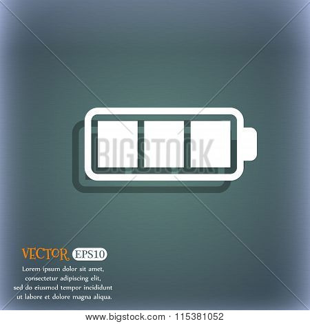 Battery Fully Charged Icon. On The Blue-green Abstract Background With Shadow And Space For Your
