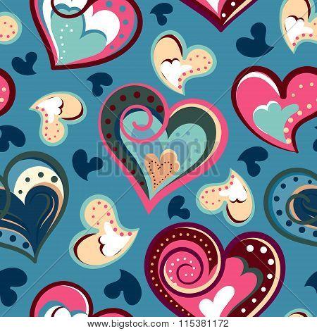 valentine seamless hearts pattern. Hand drawn. Seamless doodle hearts pattern. Hand drawn. Vector  illustration.