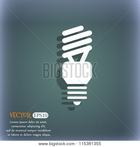 Fluorescent Lamp Icon. On The Blue-green Abstract Background With Shadow And Space For Your Text.