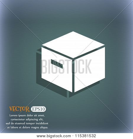 Packaging Cardboard Box Icon. On The Blue-green Abstract Background With Shadow And Space For Your