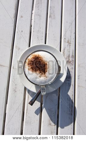 Foamy Latte In White Cup