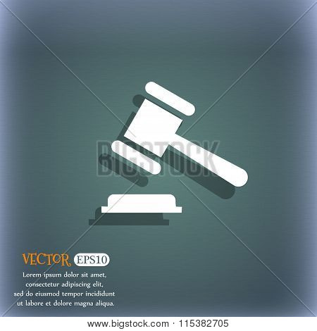 Judge Or Auction Hammer Icon. On The Blue-green Abstract Background With Shadow And Space For Your