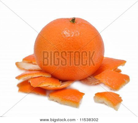 Mandarine With A Skin On A White Background