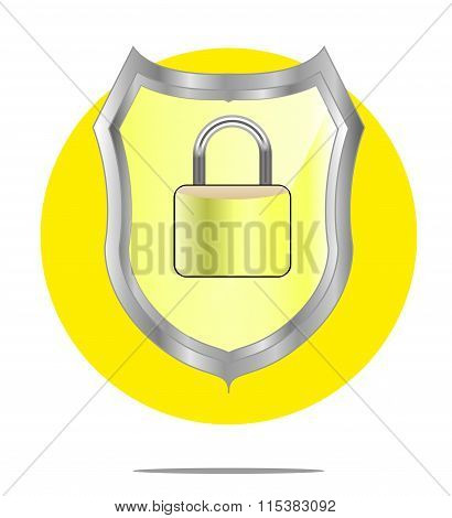 Illustration Of A Yellow Shield With Lock With Yellow Circle Background