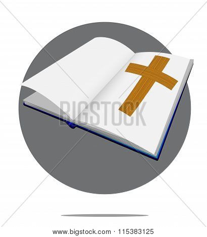 Illustration Of Bible With Cross In Green Circle Background