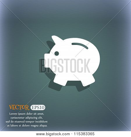 Piggy Bank - Saving Money Icon. On The Blue-green Abstract Background With Shadow And Space For
