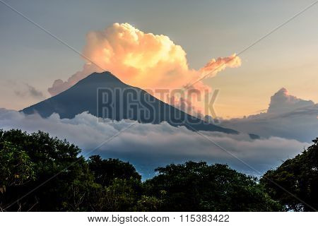 Sunset Over Agua Volcano