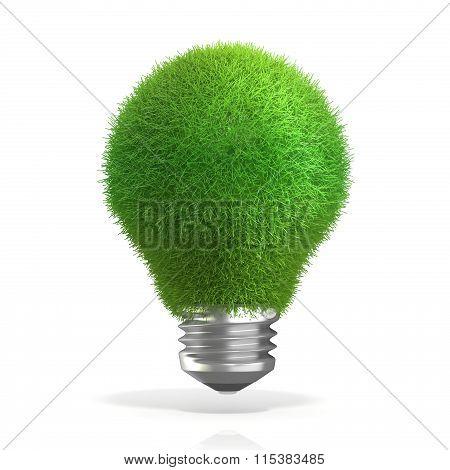 Concept of green energy. Grass on light bulb. 3D