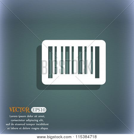 Barcode Icon. On The Blue-green Abstract Background With Shadow And Space For Your Text.