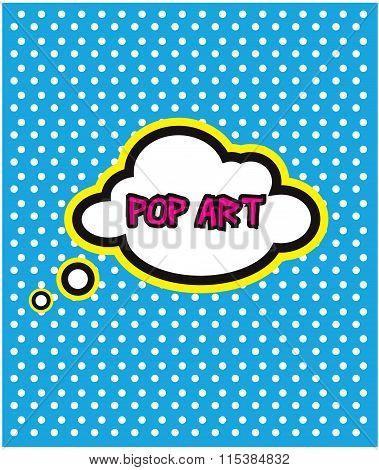 Pop Art Cloud Bubble On Dot Background