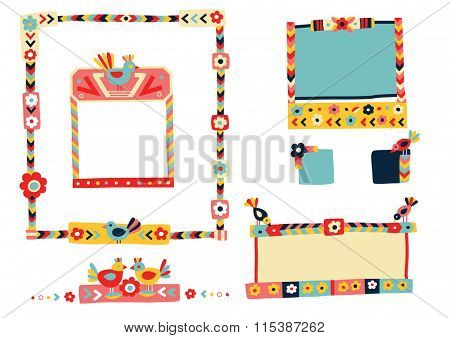 Lots of cute frames and elements in a colorful, folk inspired style.