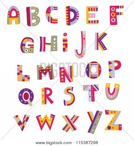 Alphabet design in a colorful style. Assorted numbers are available in my portfolio.