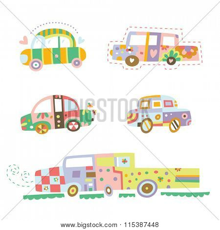 Collection of cars with cute details and colors.