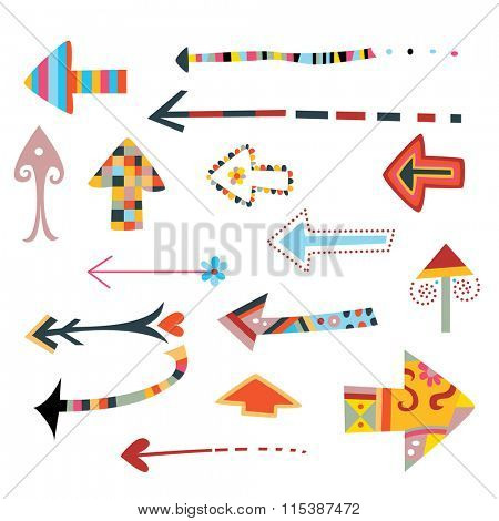 Colorful collection of decorative arrows.