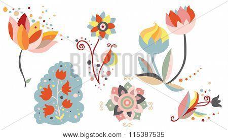 Set of ornamental flowers