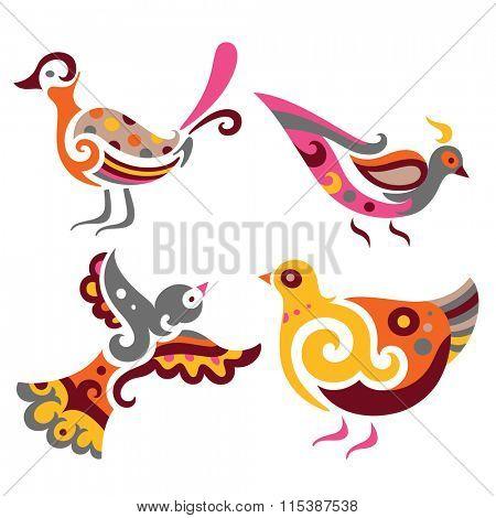 Set of four decorative birds.