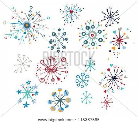 Snowflake design elements with creative, whimsical shapes.