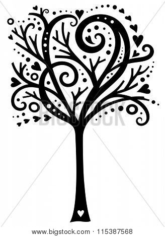 Whimsical tree design with hearts.