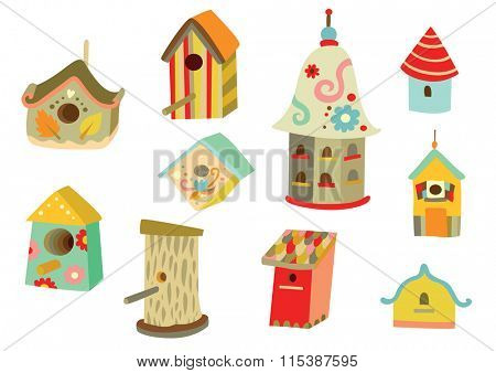 Lots of cute houses for birds with different shapes and decorations.