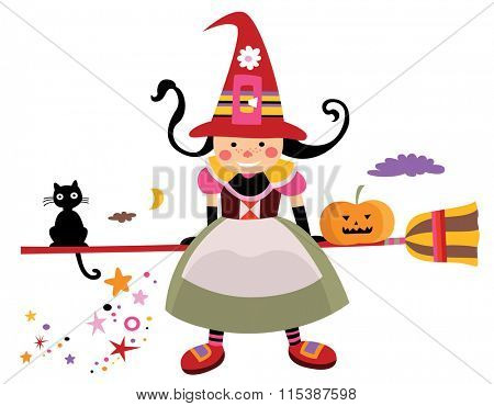 Cute witch with carved pumpkin and black cat on Halloween.