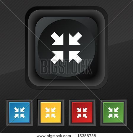 Exit Full Screen Icon Symbol. Set Of Five Colorful, Stylish Buttons On Black Texture For Your