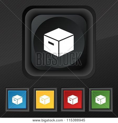 Packaging Cardboard Box Icon Symbol. Set Of Five Colorful, Stylish Buttons On Black Texture For