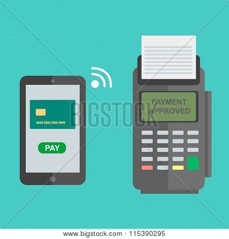 Nfc Payment Flat Design Style Vector Illustration, Pos Terminal Confirms The Payment Using A Smartph