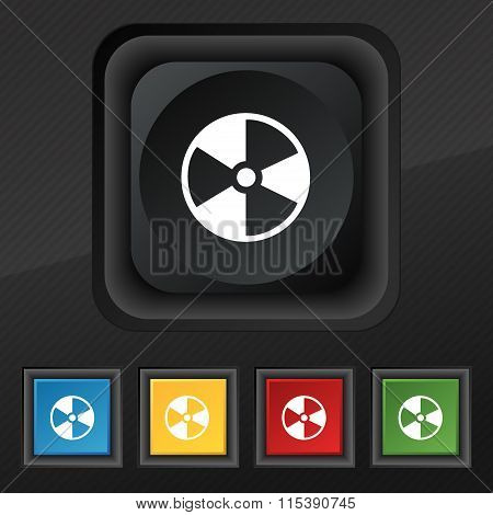 Radioactive Icon Symbol. Set Of Five Colorful, Stylish Buttons On Black Texture For Your Design.