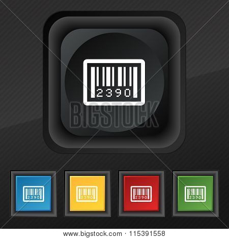 Barcode Icon Symbol. Set Of Five Colorful, Stylish Buttons On Black Texture For Your Design.