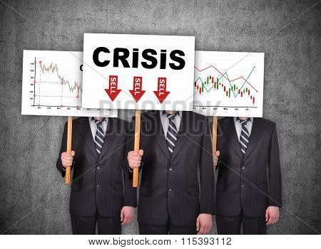Banner With Drawing Crisis Stock Chart