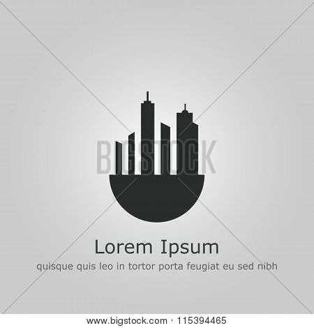 Green City Icon On Grey Background